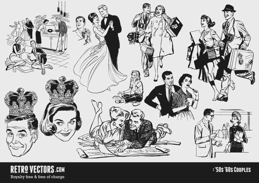 '50s Couples| Vintage Vectors