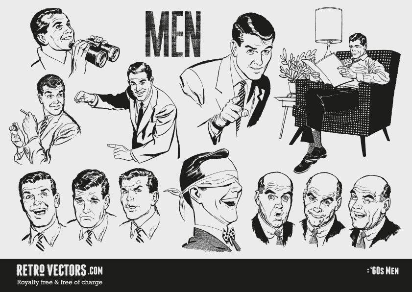 1960s Men | Vintage Vectors
