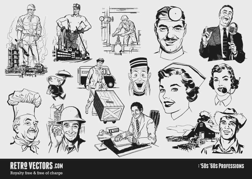 50s Professions | Vintage Vectors