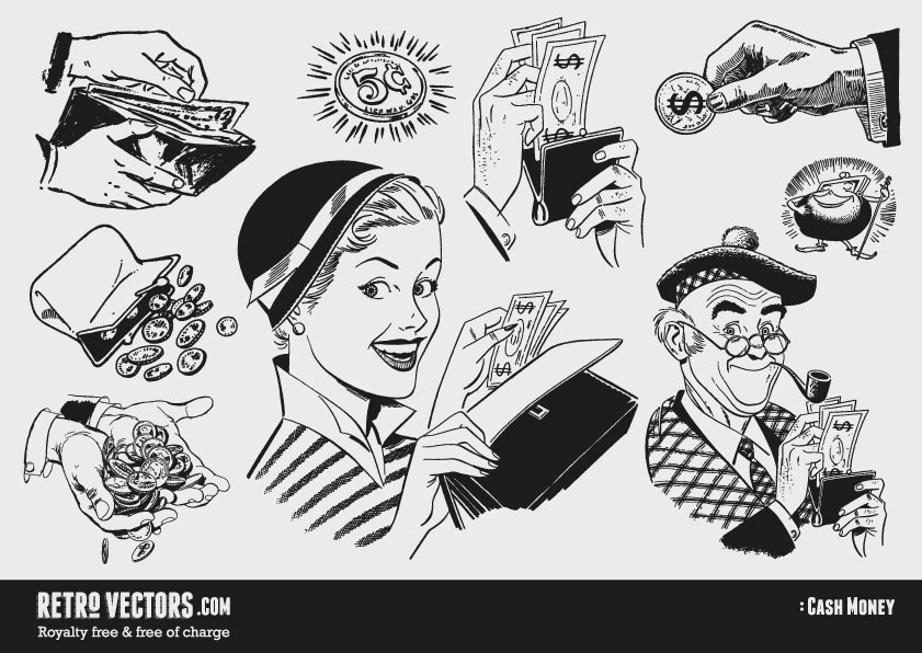 50s 60s clipart: Money