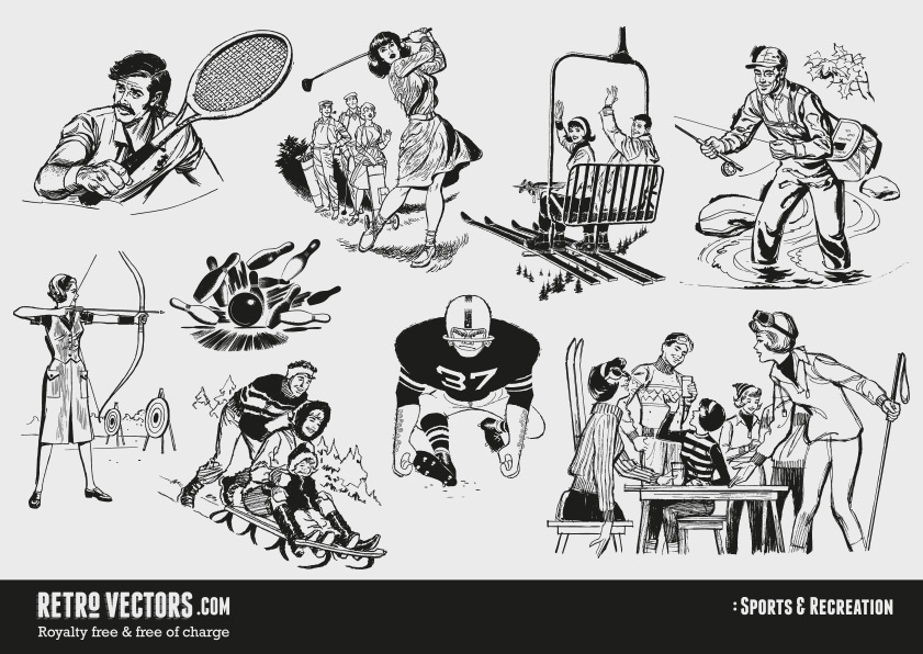60s Sports and Recreation | Vintage Vectors