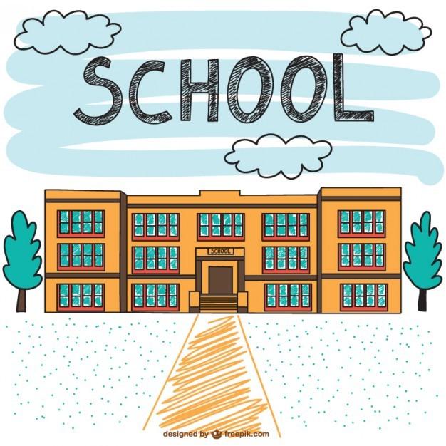 School building hand drawn scene