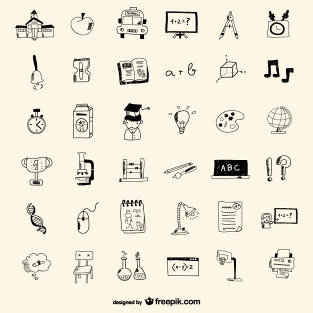 School icons drawing style