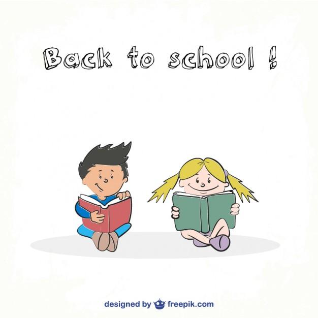 School students reading illustration