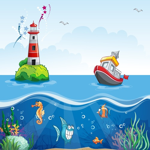 Sea with underwater world cartoon vector 05