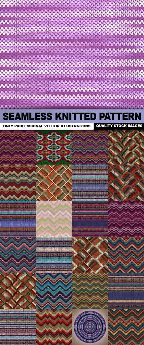 Seamless Knitted Pattern – 25 Vector
