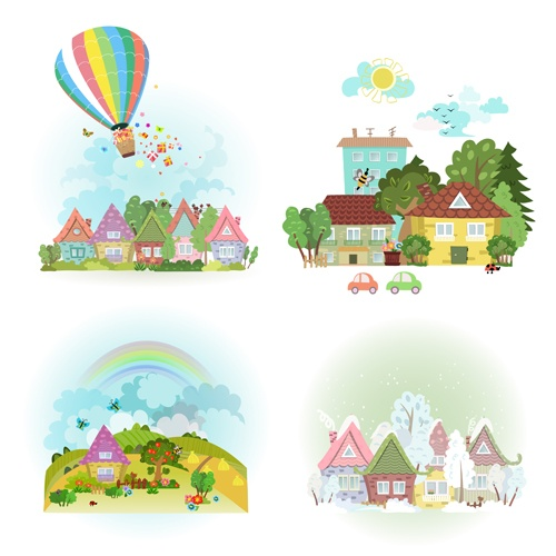 4 seasons and home vector material 03