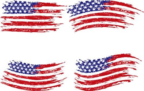 Set of America flag vector 04