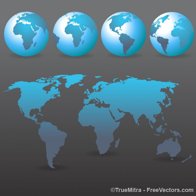 Set of blue earths and wold map  Vector | Free Download