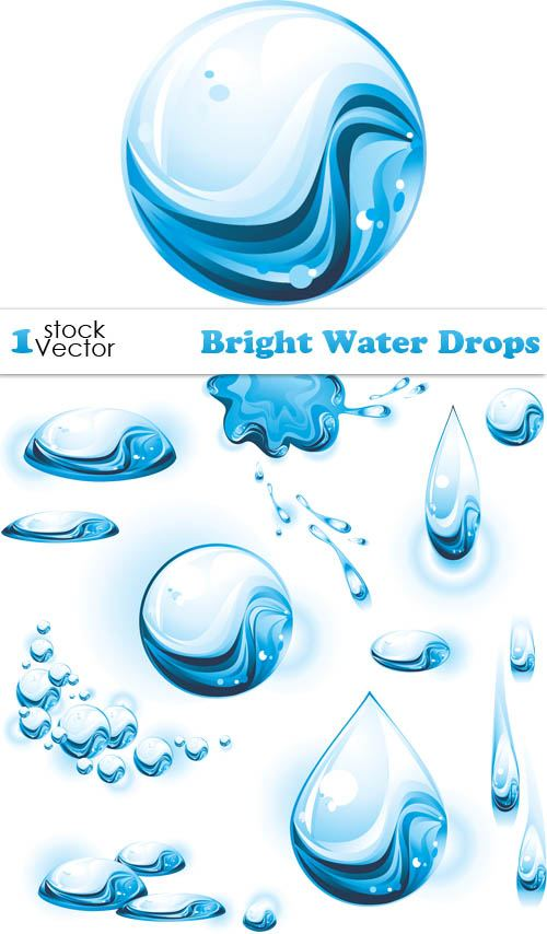 Set of Bright Water Drops Vector