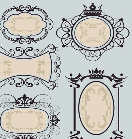 Set of Calligraphic vintage Borders and label vector 03