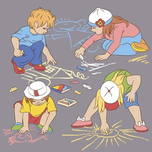 Set of cute cartoon children vector 04