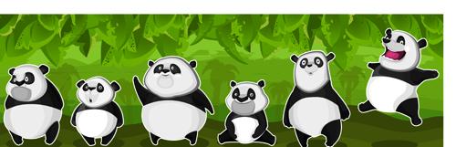 Set of funny animals vector 02 (Panda)