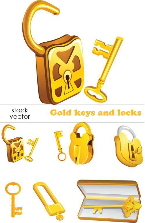 Set of Gold color keys & locks vector