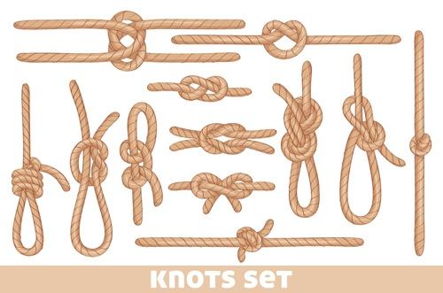 Set of knots borders elements vector 04