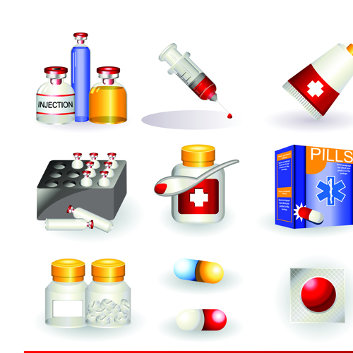 Set of Medicine elements icons vector 05