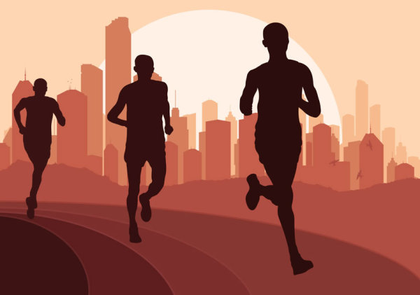 Set of running Silhouettes vector 04
