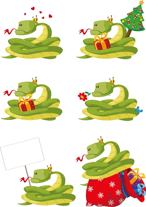 Set of Snake New Year design elements vector 02