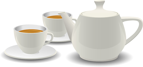 Set of teapot and tea cup vector 04