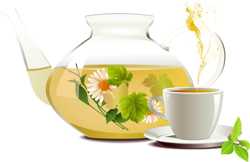 Set of teapot and tea cup vector 03