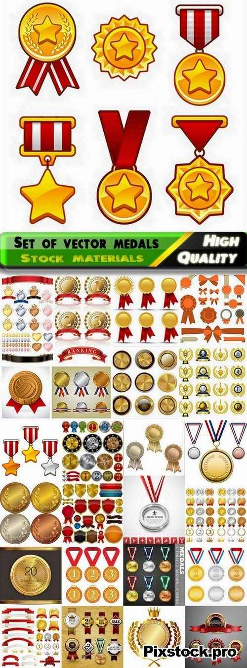 Set of vector medals from stock – 25 Eps