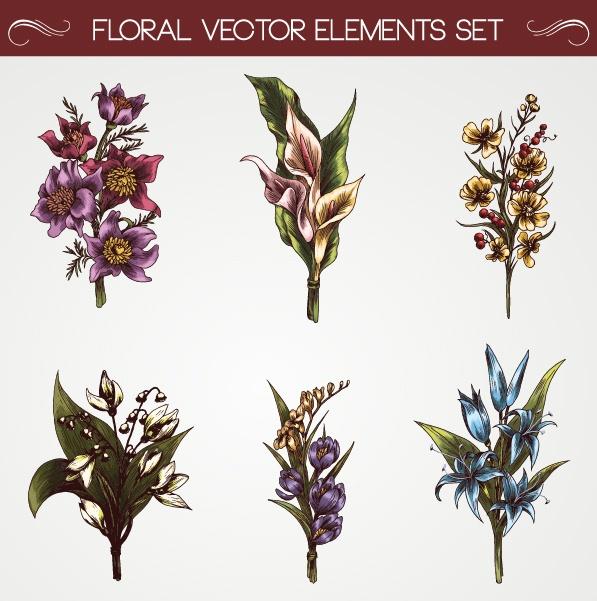 Set of Vintage flowers vector 02