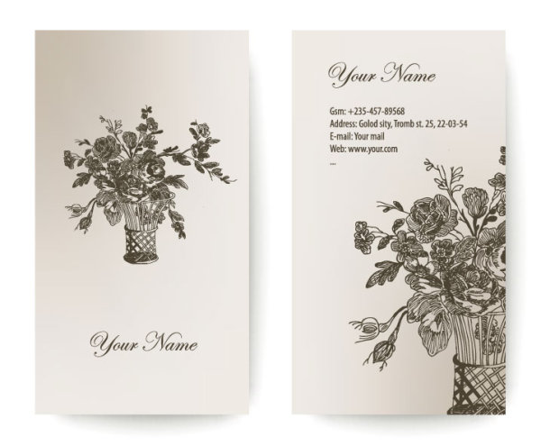 Set of Vintage with Flowers cards vector 03