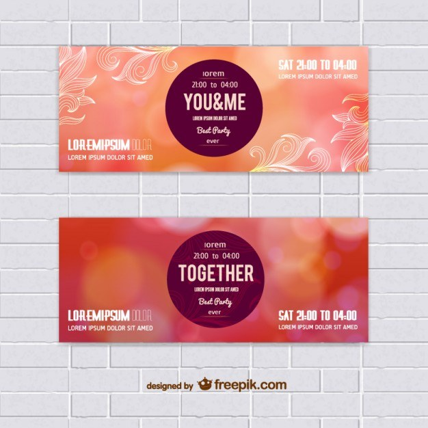 Set of warm colors vector banners  Vector | Free Download