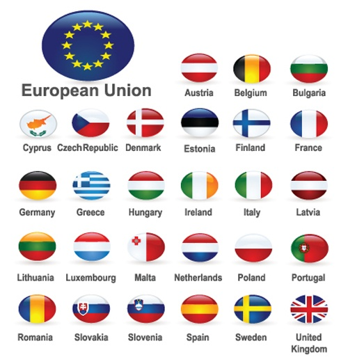 Set of World Flags Icons mix design vector 01