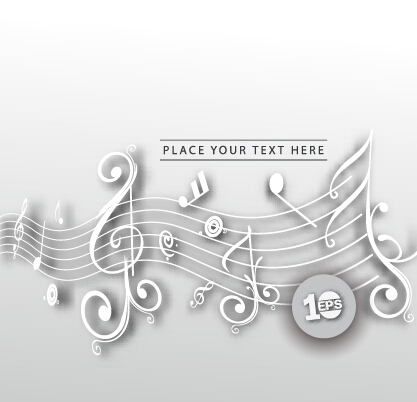 Sheet music with note vector background
