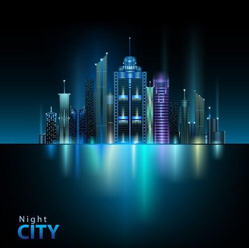Shiny Night City landscape vector 04