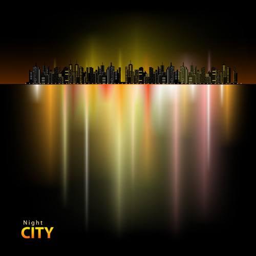 Shiny Night City landscape vector 03