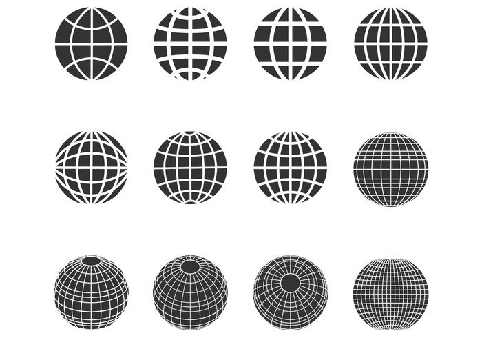 Silhouette Globes Spheres Vector Pack