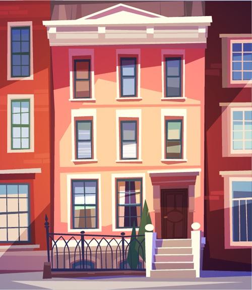 Simple houses vectors design 05