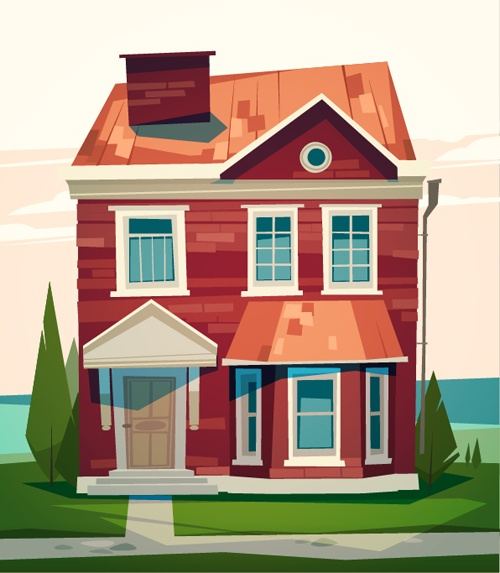 Simple houses vectors design 02