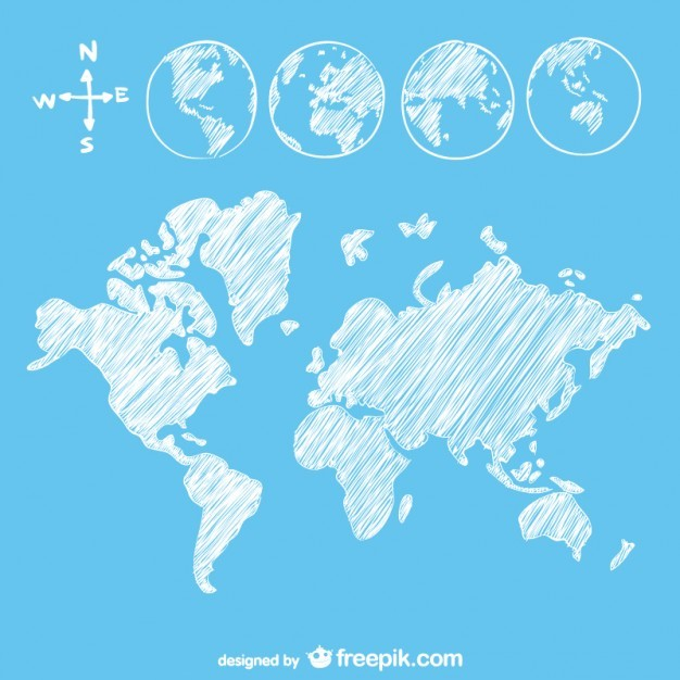 Sketch goobe and map  Vector | Free Download