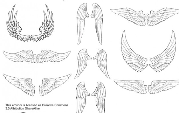 Sketched wings angel vector set