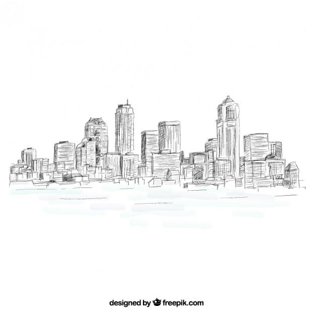 Sketchy city skyline
