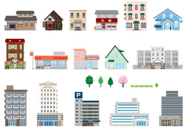 skyscrapers with house vector graphics