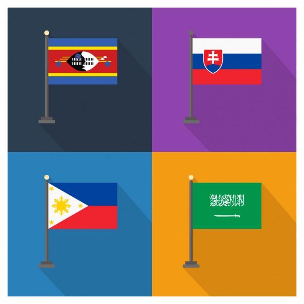 Slovakia Philippines and Saudi Arabia Flags
