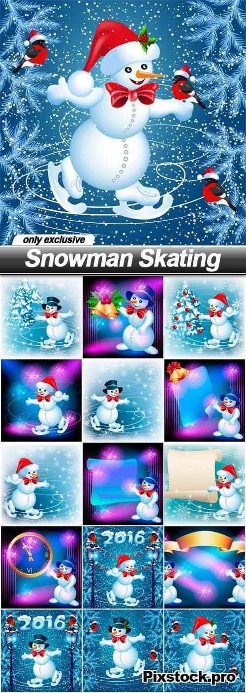 Snowman Skating – 15 EPS