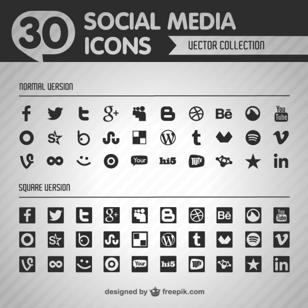 Social flat vector black icons   Vector | Free Download