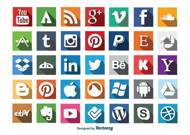 Social Icons with long shadow design  Vector | Free Download