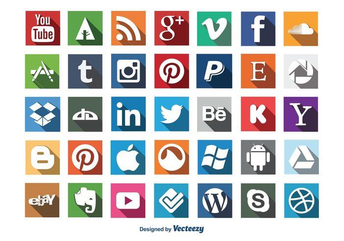 Social Media Long Shadow Icon Set