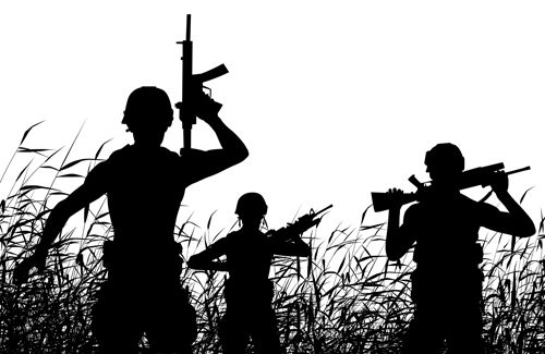 Soldier patrol silhouette vector material