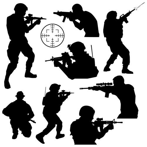 soldiers silhouettes vector set 01