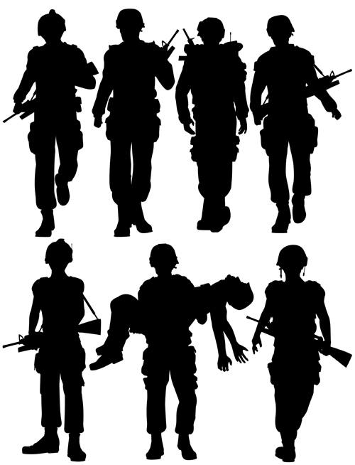soldiers silhouettes vector set 04