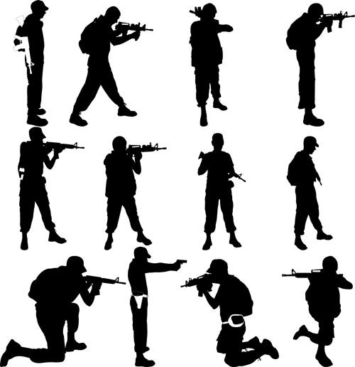 soldiers silhouettes vector set 06