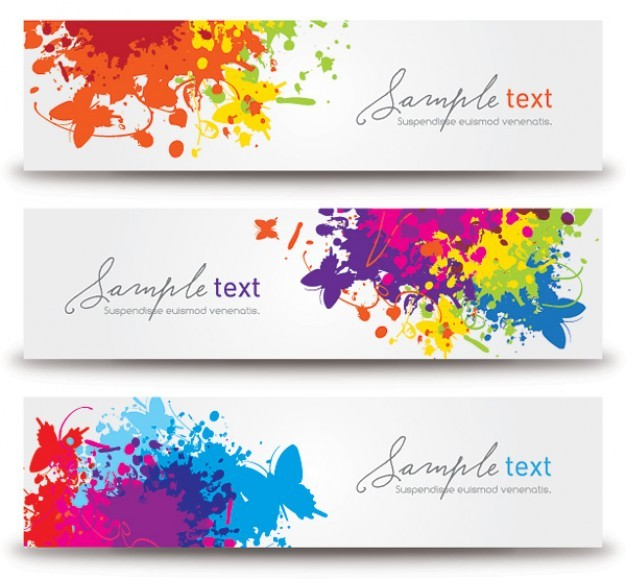 splashed banners  Vector | Free Download