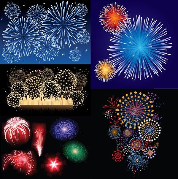 5 splendid fireworks vector material